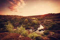 Vintage sunrise over the canyon royalty free stock images