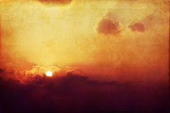 Vintage Sunset with clouds Royalty Free Stock Image