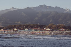 Vintage sunset on forte dei marmi beach Royalty Free Stock Photography
