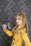 Vintage super da mulher do repórter da câmera da forma 8mm Foto de Stock Royalty Free