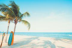 Free Vintage Surf Board With Palm Tree On Tropical Beach Royalty Free Stock Images - 118042039