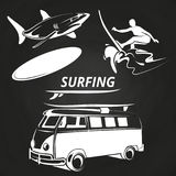 Vintage surfing elements on chalkboard design. Summer surf on sea. Vector illustration Stock Images