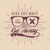 Vintage Surfing Graphics and Emblem for web design or print. Surfer, beach style logo design. Glass Surf Badge Stock Images