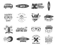 Vintage surfing graphics and emblems set for web design or print. Surfer, beach style logo design. Surf Badge. Surfboard royalty free illustration