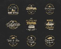 Vintage Surfing Graphics and Emblems set for web design or print. Surfer logo templates. Surf Badges. Summer fun. Typography insignia collection. Stock Vector vector illustration