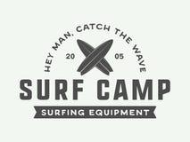 Vintage surfing logo, emblem, badge, label, mark. Stock Image