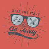 Vintage Surfing Poster for web design or print. Surfer glasses emblem, summer and typography sign - ride the wave or go Stock Image