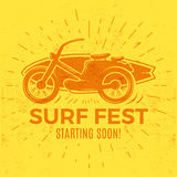 Vintage Surfing tee design. Retro Surf fest t-shirt Graphics and Emblem for web design or print. Surfer motorcycle logo Stock Photography