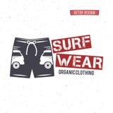 Vintage Surfing Wear stamp design. Surf Clothing shop logo. Graphics and Emblem for web design or print. Surfer, beach Royalty Free Stock Images