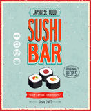 Vintage Sushi Bar Poster. Vector illustration. Stock Images
