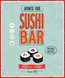 Vintage Sushi Bar Poster. Vector illustration. Vintage Sushi Bar Poster Stock Images