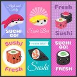 Vintage sushi vector posters in japan comic style. Color banner sushi bar, japanese food menu illustration vector illustration