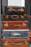 Vintage sutcases. Big pile of vintage suitcases and briefcases Royalty Free Stock Photos