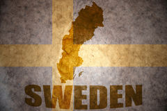 Vintage sweden map. Sweden map on a vintage swedish flag background Stock Images