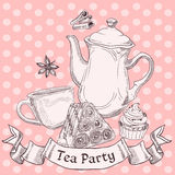 Vintage sweets and tea royalty free illustration
