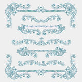 Vintage swirls. Set of vintage swirls and borders, hand drawn elements for decoration Royalty Free Stock Image