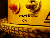 Vintage Switch. Macro shot of power switch on vintage amplifier Royalty Free Stock Photography