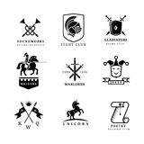 Vintage sword vector badges and labels or logo set Royalty Free Stock Image