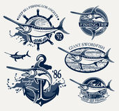 Vintage swordfish  sea fishing emblems Royalty Free Stock Photo