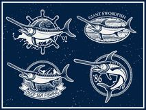 Vintage swordfish  sea fishing emblems Stock Photos