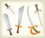Vintage Swords, Knifes, broadsword And Saber Set. Illustration of a vintage set of cartoon swords, broadsword, saber, knifes, and other old cold steel weapons Stock Photos
