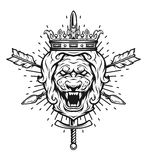 Vintage symbol of a lion head, a crown. Royalty Free Stock Photos
