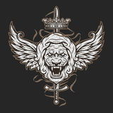 Vintage symbol of a lion head and wings. Royalty Free Stock Photography