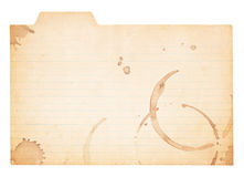 Vintage Tabbed Index Card With Coffee Stains Stock Images