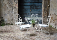 Vintage table and chairs Royalty Free Stock Image