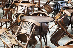 Vintage table and chairs Stock Photos