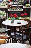 Vintage table and chairs in a street cafe Royalty Free Stock Images