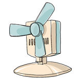 Vintage table fan hand drawn cute art illustration Royalty Free Stock Images