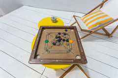 Vintage table game on the porch. Stock Photo