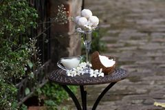 Vintage table with Gourmet coconut sweets, old garden on background. Romantic dinner outside. coconut balls. royalty free stock photography