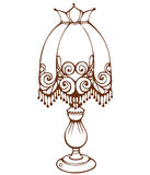 Vintage table lamp. Outline illustration - vintage table lamp isolated on white Royalty Free Stock Image