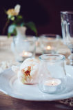 Vintage table setting with beige rose Royalty Free Stock Images