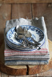 Vintage tablecloth,plate and cutlery Royalty Free Stock Photography