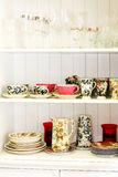 Vintage tableware. Interior of kitchen cabinet with vintage tableware Royalty Free Stock Image