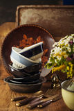 Vintage tableware. Cutlery on dark brown wooden backround Royalty Free Stock Photography