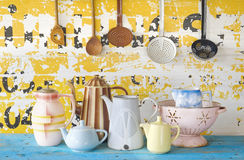 Vintage tableware and kitchen utensils Stock Images