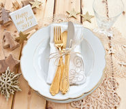 Vintage tableware placed for dinner stock photos