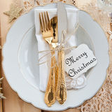 Vintage tableware placed for dinner Royalty Free Stock Photo