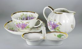 Vintage tableware. To drink tea and coffee with a beautiful set of tableware on gray Stock Photo