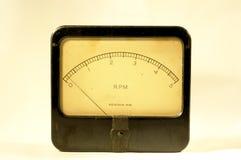 Vintage Tachometer. Old panel meter measuring RPM Stock Photo