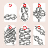 Vintage tags with eternity eight knot. Vector set Stock Image