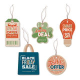 Vintage tags with string Stock Photos