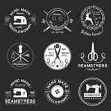 Vintage tailor labels, emblems and designed element. Stock Photos