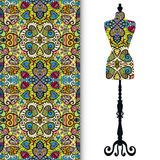 Vintage tailor's dummy, seamless floral geometric pattern Stock Image