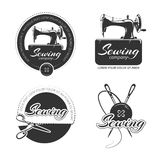 Vintage tailor vector labels, emblems and logo set Royalty Free Stock Photo