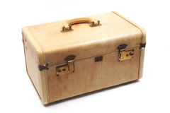 Vintage Tan Luggage. On a White Background Stock Photo